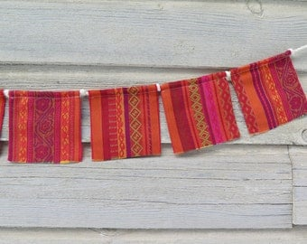 Small Prayer Flags, Playroom Decor, Fabric Bunting Banner, Hippie Decor, Upcycled, Wall Decor, Photo Prop, Baby Shower, Red Orange