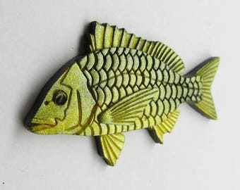 Gold fish magnet, yellow bream magnet, yellow fridge magnet, Black bream, Gift for friend, Gift for stepdad, Gift for stepson, for in law