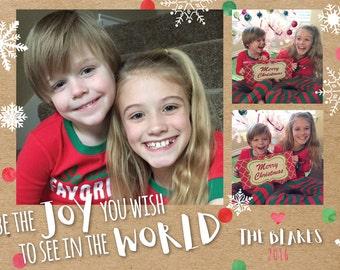 Photo Christmas Card/ Digital Christmas Card/ Be the Joy/Holiday Card/Cute Christmas Card
