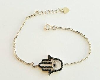 hamsa fatimas hand and evil eye silver bracelet, black zircons, 925 sterling silver