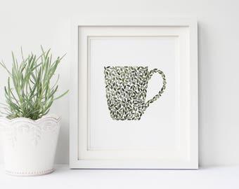 "Mug Painting, Coffee Painting, Shabby Chic Wall Art, Bohemian Wall Painting, Coffee Decor, Coffee Bar Decor 8x10"""