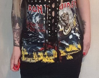 Iron maiden faux leather busted dress. UK size 8-10