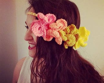 Crochet Yellow Ombre Flower Headband