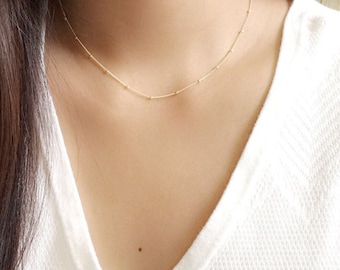 Dainty beaded necklace / satellite necklace / simple layering necklace / gold station necklace