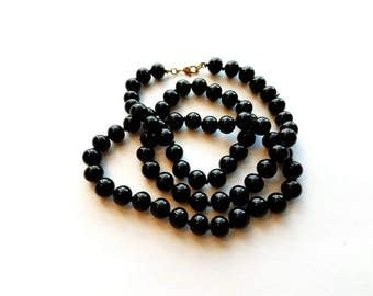 Vintage Monet Black Enamel Glass Bead Necklace