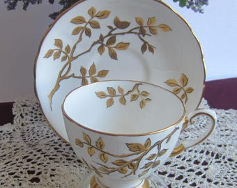 Tuscan China by RH Plant C9758 White with Gold Branches and Leaves Bone China Tea Cup and Saucer - Made in England ca1936