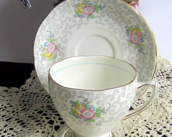 Royal Grafton by A.B.Jones 6431 Grey Scrolls with muted flowers Bone China Cup and Saucer