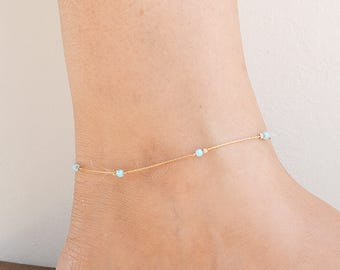 Dainty anklet,opal anklet,beach anklet,minimalist,everyday anklet,gold anklet,opal bead anklet,ankle bracelet,opal jewelry