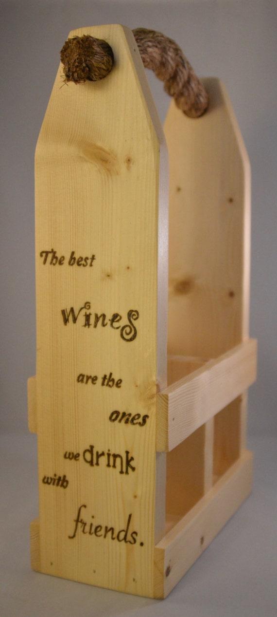 """Wine Caddy - 2 Bottle - """"Wine & Friends"""""""