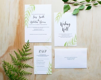 SAMPLE SET - Watercolour Script Wedding Invitations