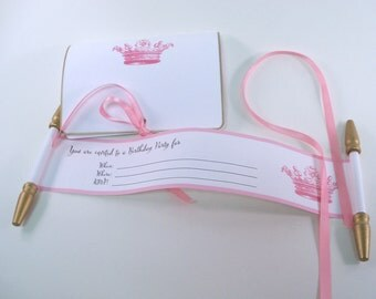 Princess birthday invitation, fill in the details, royal princess birthday, mini invitation scrolls with folders, pink and gold, blank, 10