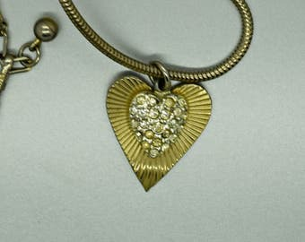 Vintage Coro Rhinestone Necklace with Snake Chain