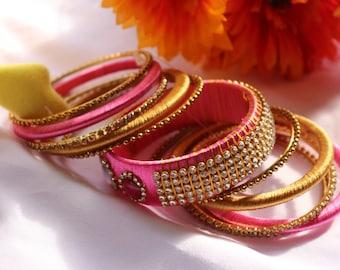 Beautiful and Grand Lotus Pink Bangle Set