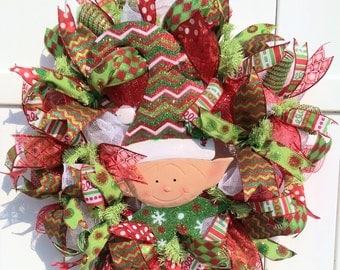 Christmas Elf Wreath, Christmas Deco Mesh Wreath, Elf Wreath, Christmas Wreath, Christmas red and green wreath, Holiday Wreath
