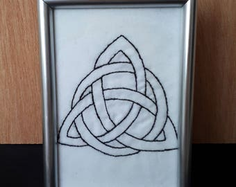 Charmed; Hand Embroidered Power of Three with Frame