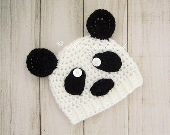 Panda hat for baby - Infant Crochet Panda Hat for Newborn to 12 Months, Black and white hat, Great as an Baby Shower Gift for boys or girls