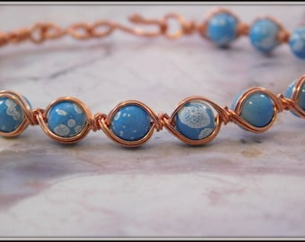 Copper and pale blue bead bracelet, Woven copper bracelet, Blue Bracelet, Blue Bangle, Copper Woven Bracelet, Light Blue Bracelet,