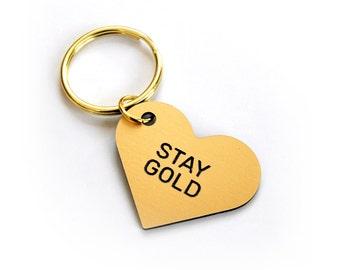 Stay Gold Heart Keytag