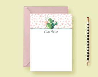 Cactus Personalized Stationery, Note Cards - Birthday Gift - Southwestern, Fiesta, Custom, Succulant, Printable or Printed - FREE SHIPPING