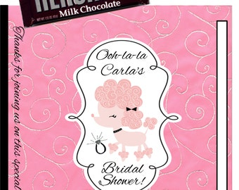 Pink and Black Poodle Bridal Shower Candy Bar Wrappers 1.55 oz. Hershey's Milk Chocolate Paris Baby Shower Birthday