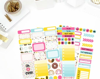 Donut Worry Weekly Kit Stickers! Perfect for your Erin Condren Life Planner, calendar, Paper Plum, Filofax!