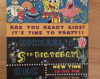Spongebob squarepants invitation