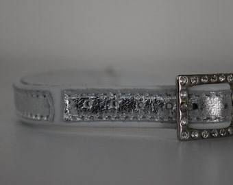 White and silver leather collar for a small dog, made in Italy