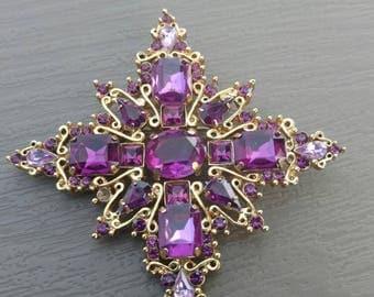 Vintage Purple Goldtone Brooch