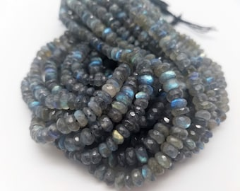 6.0 mm - 6.5 mm Labradorite Rondelles Beads, 8 inches