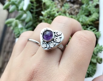 Birthstone ring amethyst hollow box heart ring in sterling silver silversmith statement ring February Valentine ring