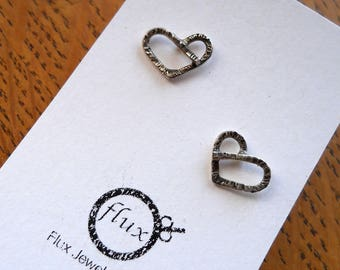 Wee Oxi Heart Studs, 925, Sterling Silver, Earrings, Handmade, Gift, Made in Ontario, Canada