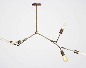 Gorgeous Modern Industrial Inspired Branched Chandelier Pendant Light in Solid Brass 5arm lights