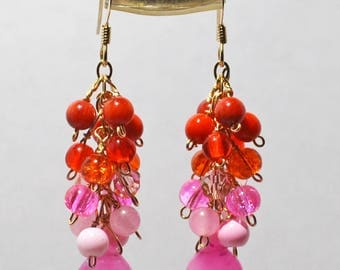 Handmade Pink Candy Jade, Orange & Pink 14K gold filled earrings