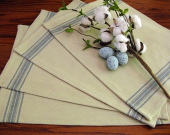 Farmhouse Grain Sack Placemats - Grainsack Placemats - Natural and Country Blue Stripe