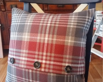 Red and Grey Check Cushion,