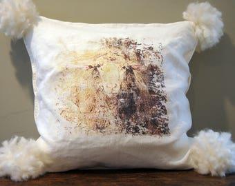 Farmhouse Decor Sheep Pillow Cover. White Linen.