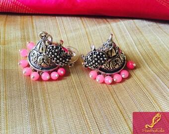 Oxidized Silver Earrings,Oxidized Silver Jhumkas,Pink Earrings,Yellow Earrings, Boho Earrings,Jhumkas
