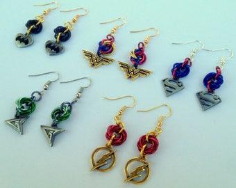 Justice League Mobius Chainmail Earrings, Batman earrings, Wonder Woman earrings, Superman earrings, Green Arrow, earrings Flash earrings