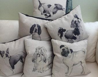 "Gorgeous 18"" linen/cotton dog cushion cover - Boston terrier/pug/Lhasa apso/shih tzu/cavapoo/French bulldog/springer spaniel/Jack Russell"