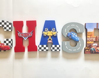 Cars Letters - Home Decor - Party Decorations - Wood letters - Custom Letters