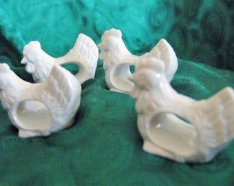 Four White Ceramic Chicken Napkin Rings