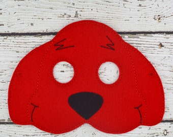 Big Red Dog Children's Felt Mask  - Costume - Theater - Dress Up - Halloween - Face Mask - Pretend Play - Party Favor