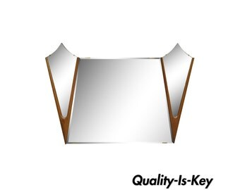 Vintage Mid Century Danish Modern Large Sculptural Diamond Walnut Wood Triple Wall Dresser Mirror 42 x 60