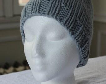 Hand-Knit Hat - Grey Stockinette