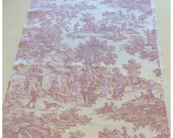 Pink French Country Toile de Jouy Fabric by Western Textile