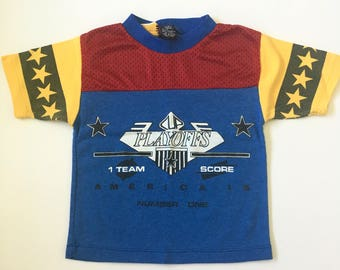 Vintage Blue Red Sport Tee Boys 3T 4T