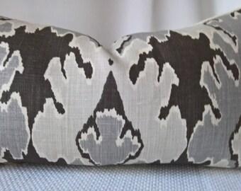 Kelly Wearstler for Groundworks Bengal Bazaar Graphite 100% USA Linen Custom Pillow Designer Pillow