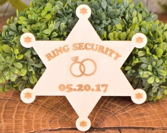 Ring Security Badge, Ring Police badge, Ring bearer badge, Ring bearer gift, Ring Bearer sheriff badge, Ring Marshall badge, Ring bearer