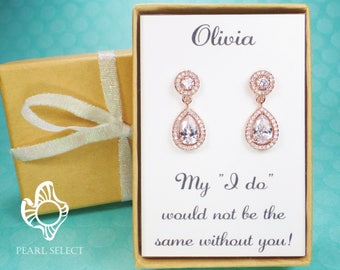 Bridesmaid Gift,Rose Gold Bridesmaid Earrings,gold Bridal Jewelry,wedding jewelry,bridal party gift,Bridal earrings,Cubic Zirconia earrings