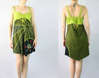 Green Rising Sun Spaghetti Straps Cotton Dress